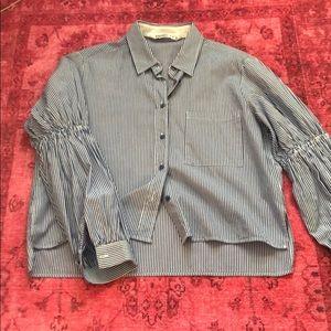 Zara Ruffle Sleeve Top